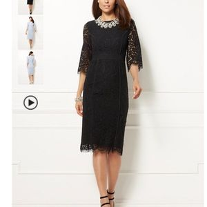 Eva Mendes Romina black lace sheath dress Small